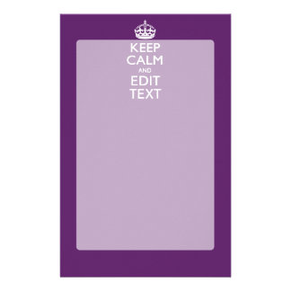 Personalized KEEP CALM AND Your Text on Purple Stationery