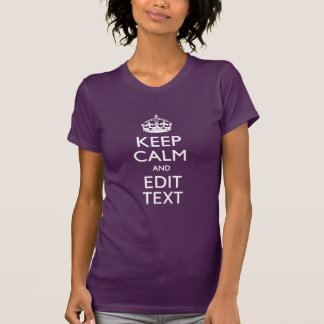 Personalized KEEP CALM AND Your Text on Purple T-Shirt