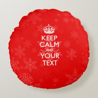 Personalized KEEP CALM AND Your Text on Red Round Pillow