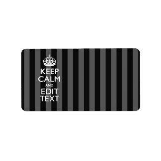Personalized KEEP CALM AND Your Text on Stripes Label