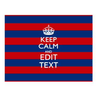 Personalized KEEP CALM AND Your Text on Stripes Postcard