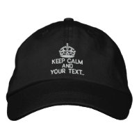 Personalized White Keep Calm Embroidered Hats