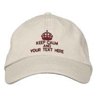 Personalized Red Keep Calm Embroidered Hats