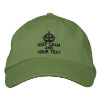 Personalized Black Keep Calm Embroidered Hats