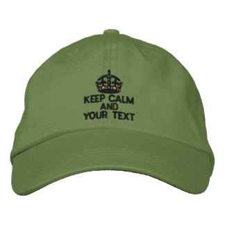 Personalized KEEP CALM AND Your Text Original Embroidered Baseball Caps