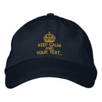 Personalized Gold Keep Calm Embroidered Hats