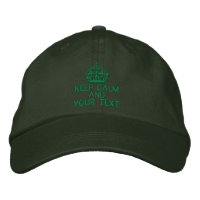 Personalized Green Keep Calm Embroidered Hats