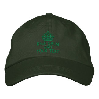 Personalized KEEP CALM AND Your Text Original Embroidered Hats