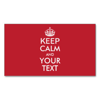 Personalized KEEP CALM and YOUR TEXT - WHITE words Business Card Magnet