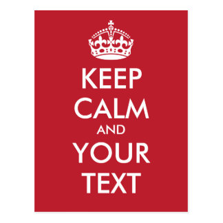 Personalized KEEP CALM and YOUR TEXT - white words Postcard
