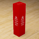 """Personalized keep calm and your text wine gift box<br><div class=""""desc"""">Personalized keep calm and your text wine gift box. Bordeaux red color. Cute gift idea for friends and family at party celebration for Birthday, wedding, anniversary, retirement, new home etc. Great wedding favor present with custom thank you message of bride and groom on top. Or as present to newly weds...</div>"""