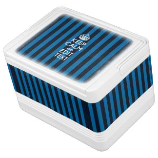 Personalized Keep Calm Blue Stripes Decor Drink Cooler