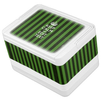 Personalized Keep Calm Green Stripes Decor Drink Cooler