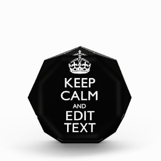 Personalized KEEP CALM Have Your Text on Black Award