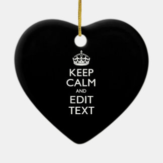 Personalized KEEP CALM Have Your Text on Black Double-Sided Heart Ceramic Christmas Ornament