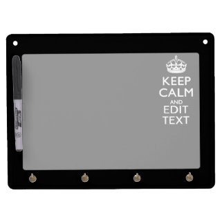 Personalized KEEP CALM Have Your Text on Black Dry Erase Board With Keychain Holder