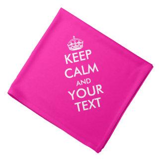 Personalized keep calm hot pink and white bandana