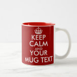 """Personalized Keep Calm mugs with customizable text<br><div class=""""desc"""">Personalized Keep Calm mug with customizable text. Cute gift idea for men and women. Customize background colors ie red. Create your own funny Keep Calm and Carry On parody. Simply edit the text of this template to make a unique design. Popular quotes: Keep calm and party on. Keep calm and...</div>"""