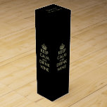 "Personalized keep calm winebox | Black & faux gold Wine Gift Box<br><div class=""desc"">Personalized keep calm winebox 
