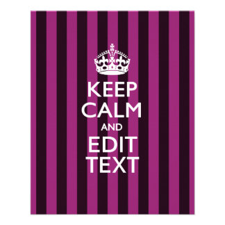 Personalized KEEP CALM Your Text Fuchsia Stripes Flyer