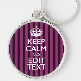 Personalized KEEP CALM Your Text Fuchsia Stripes Keychain