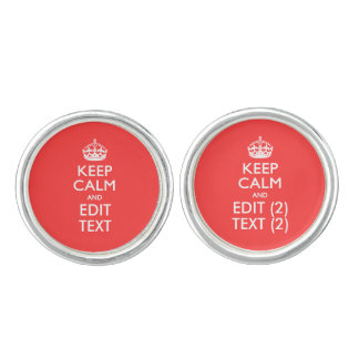 Personalized KEEP CALM Your Text in Coral Cufflinks