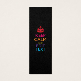 Personalized KEEP CALM Your Text Multicolored Mini Business Card