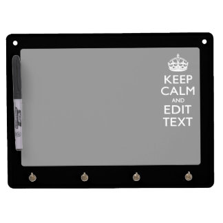 Personalized KEEP CALM Your Text on Black Dry Erase Board With Keychain Holder