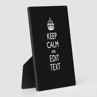 Personalized KEEP CALM Your Text on Black Plaque