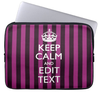 Personalized KEEP CALM Your Text on Pink Fuchsia Laptop Computer Sleeve