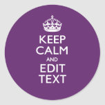 Personalized KEEP CALM Your Text on Purple Decor Classic Round Sticker