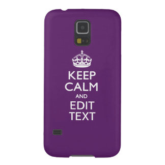 Personalized KEEP CALM Your Text on Purple Decor Galaxy S5 Case