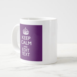 Personalized KEEP CALM Your Text on Purple Decor Giant Coffee Mug
