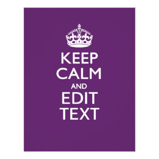 Personalized KEEP CALM Your Text on Purple Decor Letterhead
