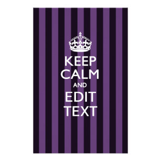 Personalized KEEP CALM Your Text on Purple Stripes Flyer
