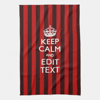 Personalized Keep Calm Your Text on Red Stripes Hand Towel