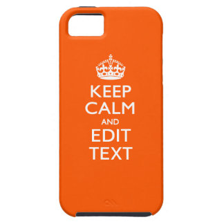 Personalized KEEP CALM Your Text Orange Accent iPhone SE/5/5s Case