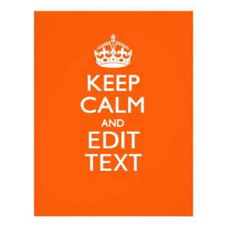 Personalized KEEP CALM Your Text Orange Accent Letterhead