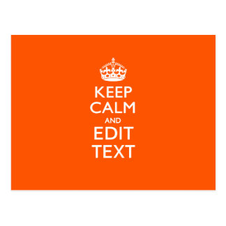 Personalized KEEP CALM Your Text Orange Accent Postcard
