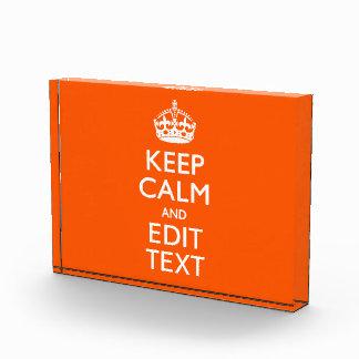 Personalized KEEP CALM Your Text Orange Decor Award