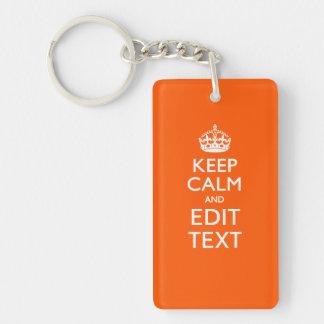 Personalized KEEP CALM Your Text Orange Decor Keychain
