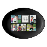 Personalized Keepsake 5 Photo Collage Monogram Porcelain Serving Platter