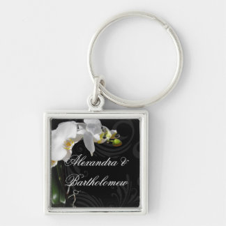 Personalized Keepsake Black & White Orchid Design Silver-Colored Square Keychain