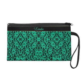 Personalized Kelly Green Lace Wristlet Purse