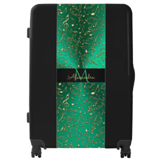 Personalized Kelly Green With Gold  Music Notes Luggage