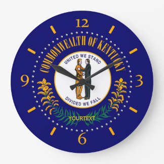 Personalized Kentucky State Flag Design on Large Clock