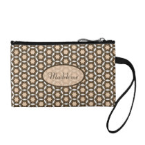 Personalized Key Coin Clutch - Brown Pattern