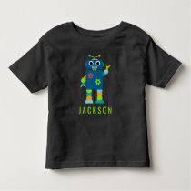Personalized Kids Adorable Robot Boys Blue Toddler T-shirt