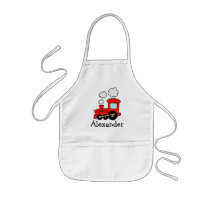 Personalized kids apron | red toy choo choo train