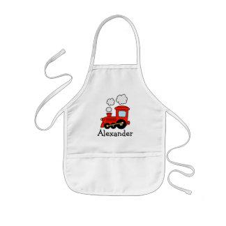 Personalized kids apron | red toy choo choo train